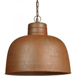 Relaxdays Lampe à suspension luminaire abat-jour en forme de cloche en métal oxydé brun H x D: 120 x 40 cm vintage industriel retro chaîne métal et socle effet rouillés, marron