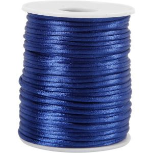Creotime Cordon satin 2 mm - Bleu foncé - Rouleau de 50 m