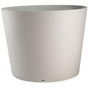 Grosfillex Pot de fleur design Tokyo 50 Diam.48 H.33 - Gris Beige - Extérieur - Résistant à la chaleur