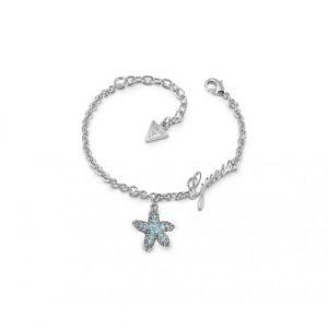 Guess Bracelet STARFISH UBB78000 - Bracelet acier chaîne pampille étoile de mer bleue pavée de cristaux Swarovski Femme
