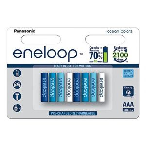Panasonic Eneloop 4mcce/8SE Ready To Use Micro Batterie Ni-MH AAA (8 Lot de 750 mAh, 2100 Cycles) Multicolore