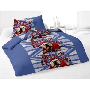 London British Dog - Housse de couette et 2 taies 100% polyester (220 x 240 cm)