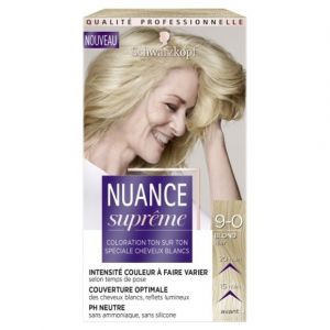 Schwarzkopf Nuance Suprême - Coloration Cheveux - Ton sur Ton Blond Clair 9-0 - Etui 60 ml