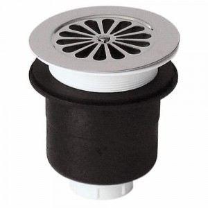 Valentin 5520000 - Bonde siphoide receveur de douche diam. 40mm en plastique sortie verticale avec grille Marguerite inox D115