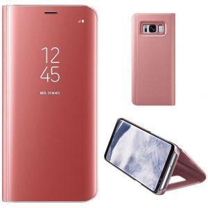 Coque Etui Housse Pour Samsung Galaxy S8 Case + Film De Protection Souple Clear View Etui À Rabat Cover Flip Case Miroir Antichoc Téléphone Portable Samsung Rose