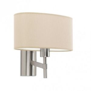 Led C4 Applique Bristol, nickel satiné, abat jour beige