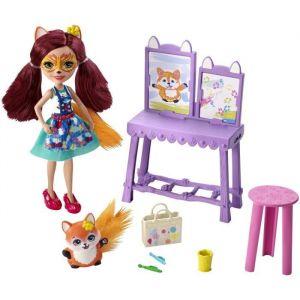 Mattel Enchantimals Coffret ?L'Atelier de Peinture de mini-poupée Felicity Renard et figurine animale Flick, accessoires inclus, jouet pour enfant, GBX03