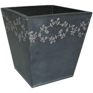 Aubry Gaspard Jardinière fleurie en Zinc Noir carrée 18.5x18x20cm -