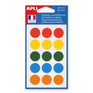 APLI 100088 - Etui de 90 pastilles adhésives col. assortis, diam. 19 mm (6 feuilles / cdt)