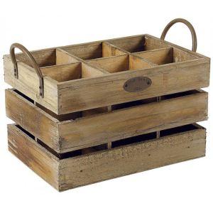 Aubry Gaspard Caisse à bouteilles 6 compartiments en bois vieilli
