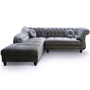 Canapé d'angle Brittish Velours Argent style Chesterfield