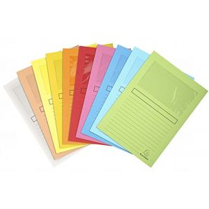 Exacompta 50150E - Paquet de 100 chemises à fenêtre SUPER, coloris assortis (10)
