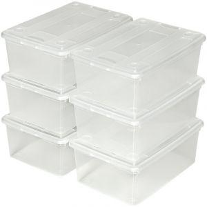 TecTake 36 Boites de Rangement à Chaussures Plastique Empilables, Bac de Rangement Transparent avec Couvercle, Système de Rangement