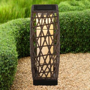 Globo Lampe de table solaire à LED style rotin hauteur 47,5 cm