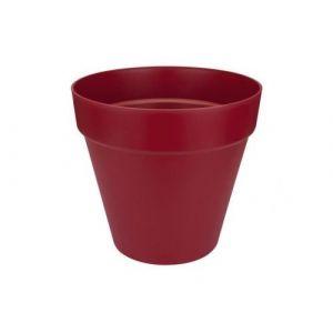 Loft URBAN Pot de fleur rond - 25 cm - Fruits rouges - Livré avec réservoir d'eau - Fabriqué en plastique - Facile à nettoyer - Résiste aux chocs