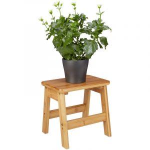 Relaxdays Tabouret repose-pieds bambou RUSTICO table console bois guéridon petit tabouret enfant HxlxP: 27 x 29 x 24 cm, nature - 4052025202644