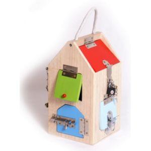 Legler 4432 Maison à serrures en bois, avec serrures, boulons, leviers, charnières et chaîne de sécurité, à partir de 3 ans