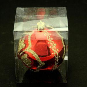 Atmosphera Boule de noël décorée - Fleur et diamant - Rouge, or et vert