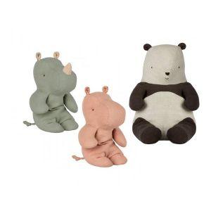 Maileg Poupées panda moyen, amis safari petit rhino vert, amis de safari, petit hippo rose