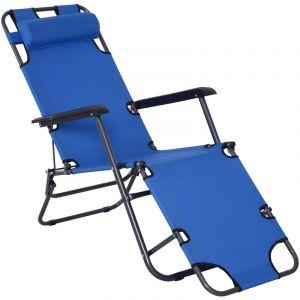 Outsunny Chaise longue transat 2 en 1 pliant inclinable multiposition bleu