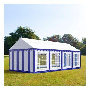 Intent24 Tente de réception 4 x 8 m PVC bleu-blanc