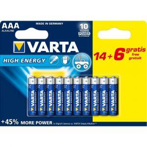 Varta Piles High Energy LR03 X14 + 6 gratuites
