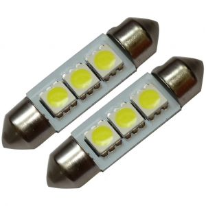 Aerzetix : 2x ampoule C5W 12V 3LED SMD blanc effet xénon 36mm navettes éclairage intérieur plaque d'immatriculation seuils de porte plafonnier pieds lecteur de carte coffre compartiment moteur