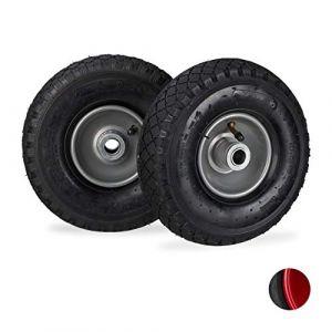 Relaxdays Roue de diable roue brouette set 2, roue de rechange axe, caoutchouc 3.00-4, 200 kg, 260 x 85 mm,noir gris