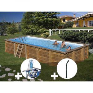 Sunbay Kit piscine bois Braga 8,00 x 4,00 x 1,46 m + Kit d'entretien + Douche