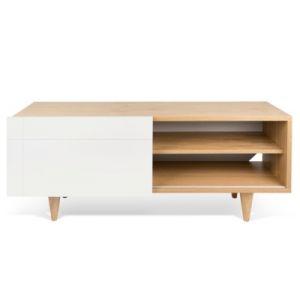 "TemaHome Meuble TV Design ""Cruz"" 120cm Blanc Mat & Chêne"