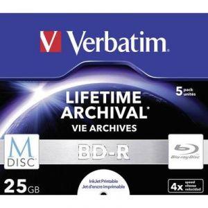Verbatim 43823 - M-Disc BD-R Blu-Ray 25 Go 4x (Boîtier lot de 5)