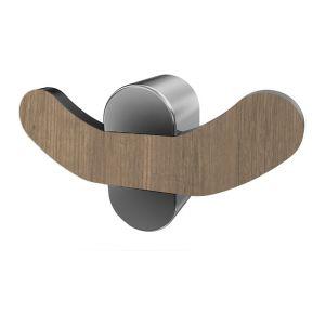 Porte serviette patère double croc t serie BERGEN (à fixer ou à coller) colle vendue séparemment 49 x 90 x 25 mm / Couleur: Bois / Référence: *07063 BISK