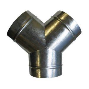 Delta Y de distribution d'air chaud en acier galva rond 3 x Ø100mm