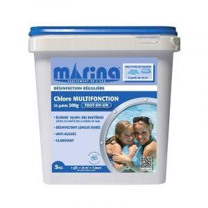Marina Galets 200g de chlore pour piscine 25m3 - 5 kg