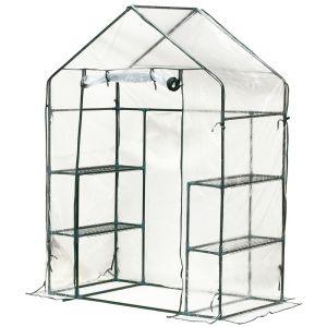 Outsunny Serre de Jardin 143L x 73l x 195H cm 4 tablettes Acier PE Haute densité 140 g/m² Anti-UV avec Porte déroulante Transparent Vert