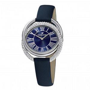 Swarovski Montre 5484376 - DUO Bracelet Cuir De Veau Bleu Boîtier Acier Anneaux Entremêlés Cristaux Sertis Micro-Pavé Femme