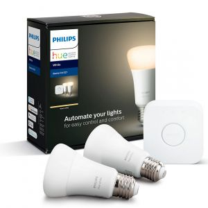 Philips Hue White Kit de démarrage E27 Bluetooth - 2 ampoules E27 - Pont Hue