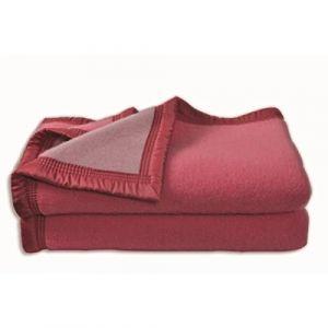 Poyet motte Couverture Aubisque en laine woolmark 220x240 cm bois de rose et dragée