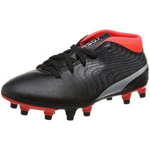 Puma One 18.4 FG Jr, Chaussures de Football Mixte Enfant, Noir Black Silver-Red Blast, 36 EU