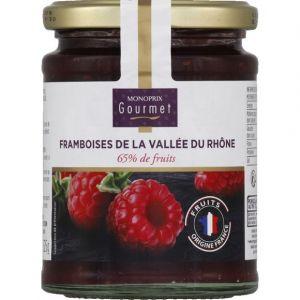 Monoprix gourmet Confiture aux framboises de la vallée du Rhône, 65% de fruits