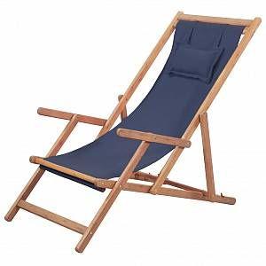 VidaXL Chaise de plage pliante Tissu Bleu
