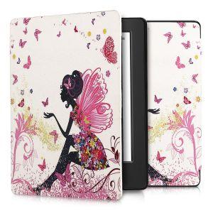 Kwmobile Housse élégante en cuir synthétique pour Kobo Aura H2O Edition 2 en Design Fée papillon multicolore rose foncé blanc