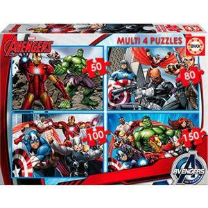 Educa Avengers - Lot de 4 puzzles 50, 80, 100 et 150 pièces