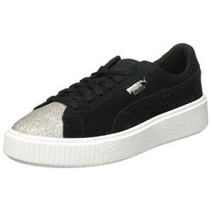 Puma Suede Platform Glam Jr, Sneakers Basses Mixte Enfant, Noir Silver Black, 38 EU