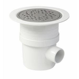 Nicoll SITARAL - Siphon sol plastique avec grille alu verrouillable sortie verticale Diam 50-63 horizontale Diam 50
