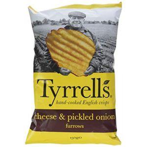 Tyrrell's Sachets de Chips Ondulées au Cheddar Affiné/L'Oignons Mariné 150gr