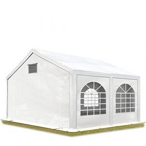 Intent24 Tente de réception 3x4 m Tente de Jardin Blanc bâche PE 300 g/m² imperméable résistante aux UV avec Cadre de Sol .FR