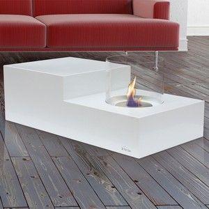 Purline Leto - Table de salon avec cheminée bio éthanol intégrée