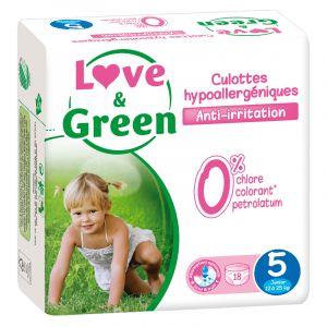 Love & Green 18 culottes apprentissage hypoallergéniques T5 12-25 kg