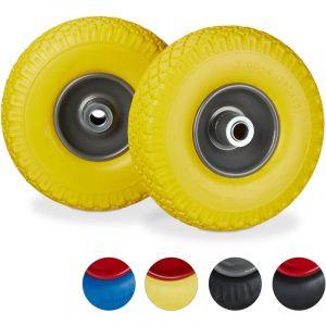 Relaxdays Roue de diable Set de 2 roue de brouette 20mm, roue complète axe, 3.00-4 essieu 150 kg, 260x85 mm, jaune-gris